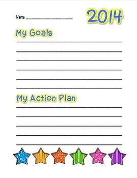"2014 ""My Goals"" Writing and Drawing Sheets!  Happy New Year!"