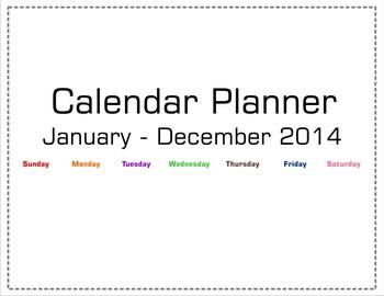 2014 Calendar Planner