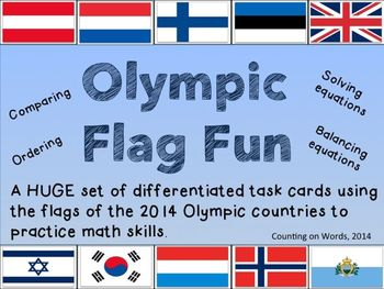 "2014 Winter Olympics: ""Fun with Flags"" Math Task Cards"