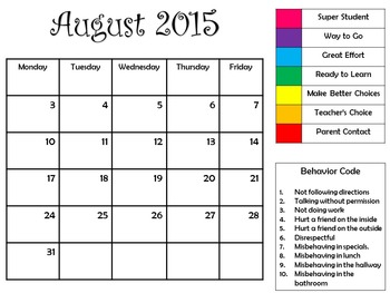 2015-16 Behavior Calendars
