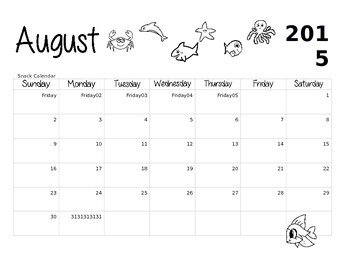 2015-16 Snack Calendar (August 2015-May 2016)