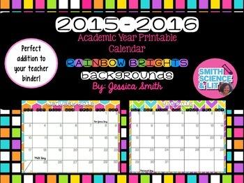2015-2016 Academic Year Printable Calendar (RAINBOW BRIGHT