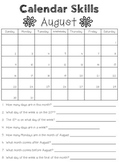 2015-2016 Calendar Skills Worksheets