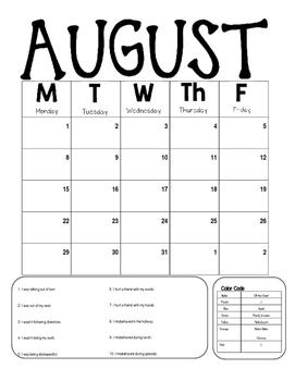 2016-2017 EDITABLE Behavior Calendar