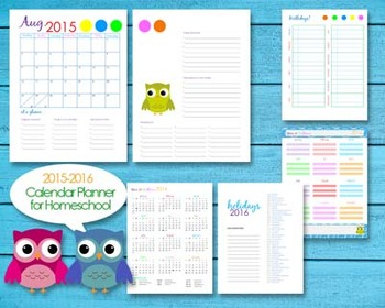 2015-2016 Homeschool Teacher Planner Calendar Editable PDF