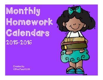 2015-2016 Homework Calendar