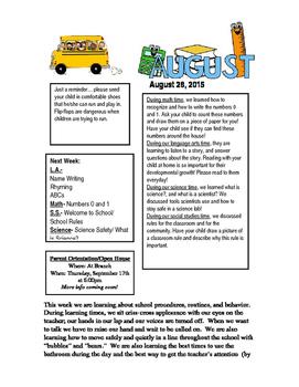 2015-2016 Kindergarten Classroom Weekly Newsletters