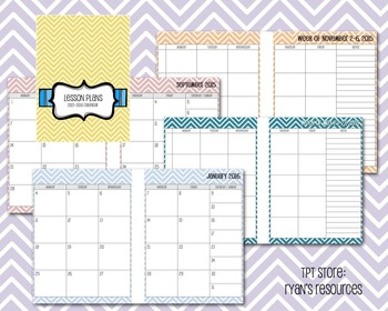 2016-2017 Lesson Planner and Calendar
