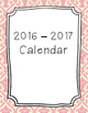 2016-2017 Monthly Calendar Pink Pattern