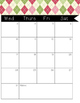 2016-2017 Monthly Calendar Pink and Green