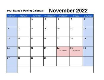 2016-2017 Pacing Calendar Template