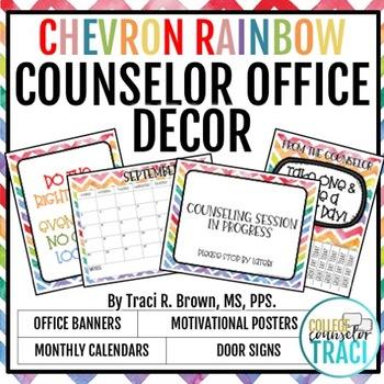 2016 - 2017 Rainbow Chevron School Counselor Office Décor