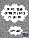2016-2017 School Year Month on 2 Page Calendar