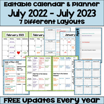 Editable 2016-2017 Calendar & Planner (3 Versions) with Owls