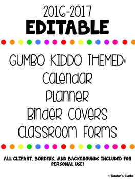 Teacher Binder Editable 2016-2017 Teacher Calendar and Pla