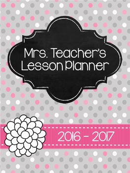 2016-2017 Teacher Planner - Grey & Light Pink polka dots *