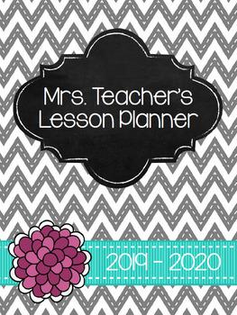 2016-2017 Teacher Planner - Grey, Turquoise & Pink Chevron