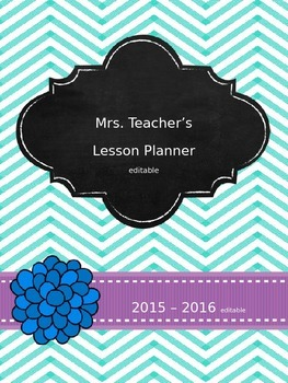 2015-2016 Teacher Planner - Light Blue & Purple Chevron *EDITABLE
