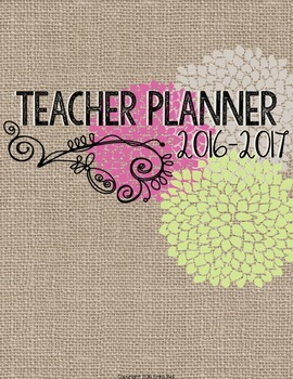 "2016-2017 Editable Teacher Planner in ""Country Romance"" El"