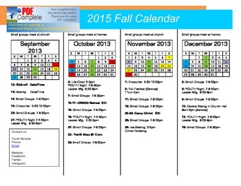 2015 Fall Youth Ministry Calendar (Editable)