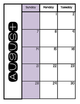 2016-17 Calendar Pages for Teacher Binder