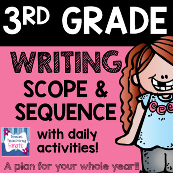 2016 - 2017 3rd Grade Writing Scope & Sequence w/Daily Act