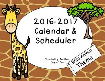 2016-2017 Academic Planner- Wild Animal Print