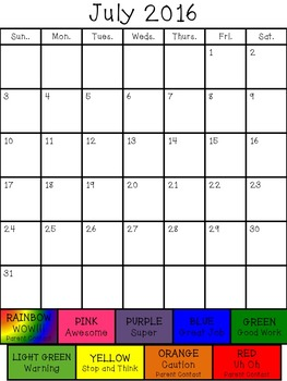 2016-2017 Behavior Calendar (EDITABLE)