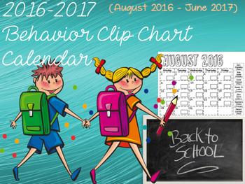 2016-2017 Behavior Clip Chart Calendar