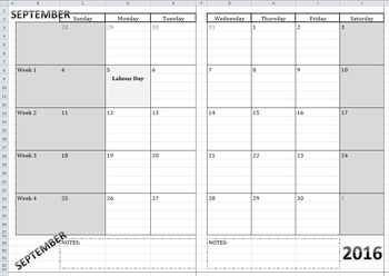 2016-2017 Calendar-At-A-Glance Template BUNDLE (Monthly, W
