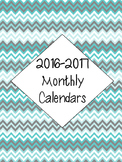 2016-2017 Calendar - Chevron - Blues and Gray