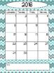 2016-2017 Calendar - Chevron - Blues and Gray