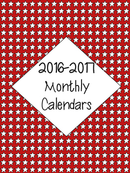 2016-2017 Calendar - Red Background with White Stars