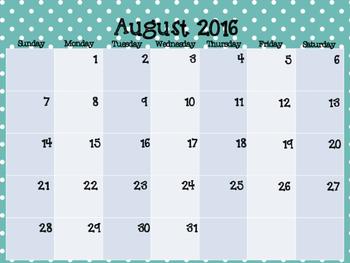 2016-2017 Calendar- Teal & Navy