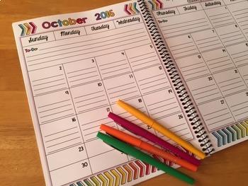 2016-2017 Editable Calendar (Freebie)