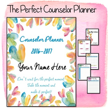 2016-2017 Editable Counselor Planner Binder-- Circle Hearts Theme