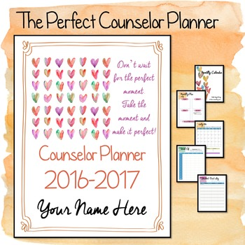2016-2017 Editable Counselor Planner Binder-- Square Hearts Theme