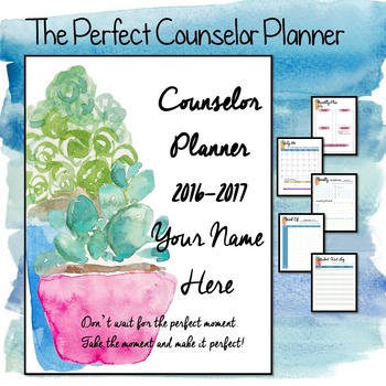 2016-2017 Editable Counselor Planner Binder-- Succulents Theme