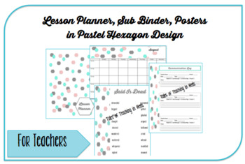 2016-2017 Lesson Planner, Sub Binder, Posters: Pastel Hexagon