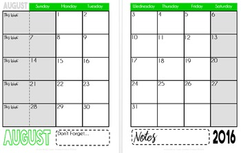 2016-2017 Sanity Saver: 12-Month Calendar (August - July)