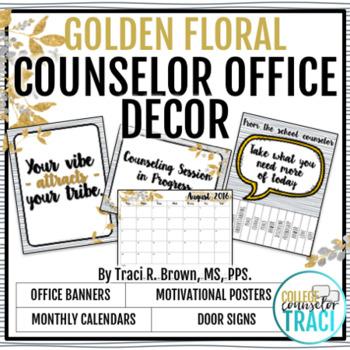 2016 - 2017 School Counselor Office Décor Golden Floral
