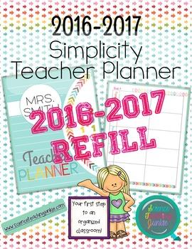 2016-2017 Simplicity Teacher Planner REFILL