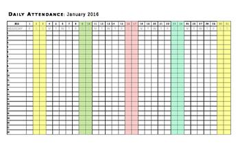 2016 Calendar JANUARY ATTENDANCE TEMPLATE