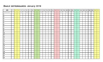 2016 Calendar / January & February Attendance Chart