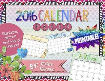 2016 Calendar Pages - Rainbow & Floral
