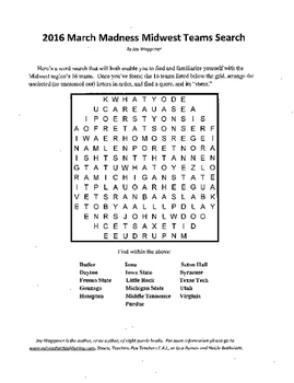 2016 March Madness Midwest Teams Search,word search