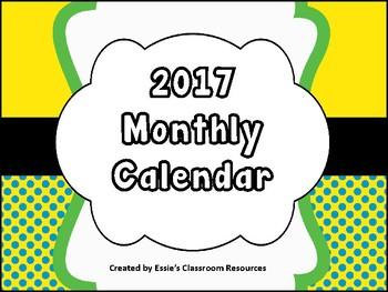 2017 Monthly Calendar