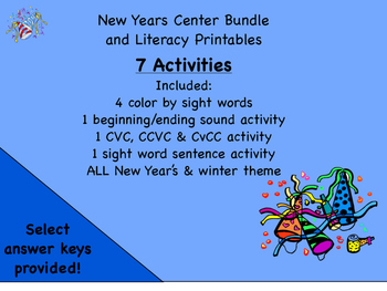 2016 New Years Printables. CVC CCVC words, color by sight