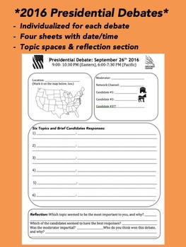 2016 Presidential Debate Forms with Dates (four sheets) BUNDLE