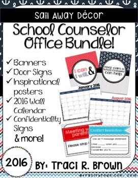 2016 School Counselor Office Décor Bundle (Nautical)